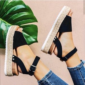 Black Espadrilles Platform Sandals Platform